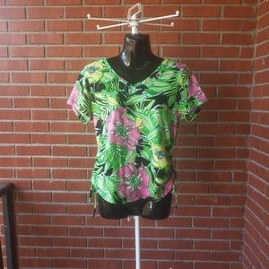 Caribbean Joe Island Supply Co. Floral Blouse